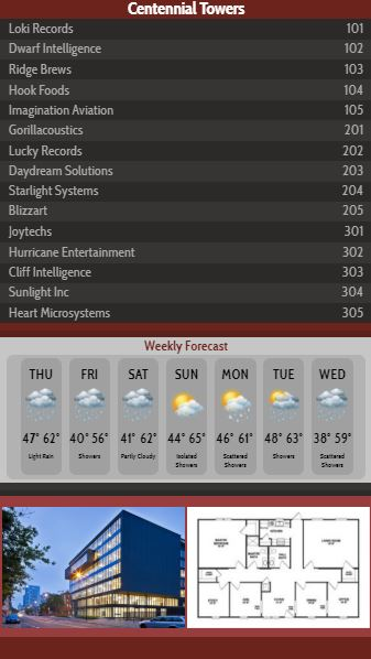 Vertical Lobby Directory with Weekly Weather - 15 Items in Maroon color