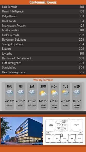Vertical Lobby Directory with Weekly Weather - 15 Items in Orange color
