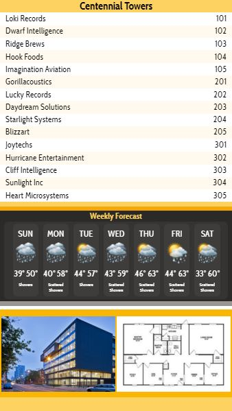 Vertical Lobby Directory with Weekly Weather - 15 Items in Yellow color