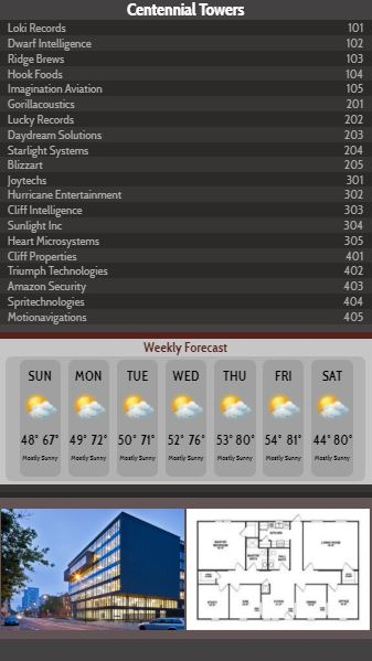 Vertical Lobby Directory with Weekly Weather - 20 Items in Black color
