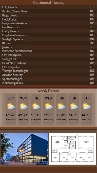 Vertical Lobby Directory with Weekly Weather - 20 Items in Brown color