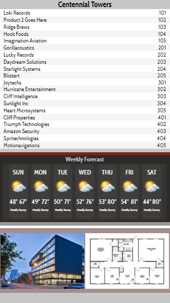 Vertical Lobby Directory with Weekly Weather - 20 Items in Grey color