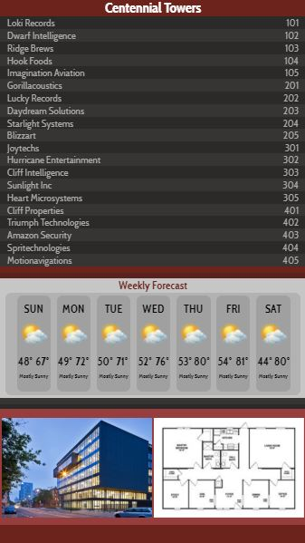 Vertical Lobby Directory with Weekly Weather - 20 Items in Maroon color