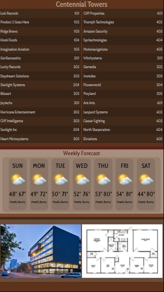 Vertical Lobby Directory with Weekly Weather - 30 Items in Brown color