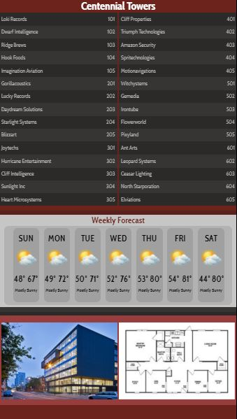Vertical Lobby Directory with Weekly Weather - 30 Items in Maroon color