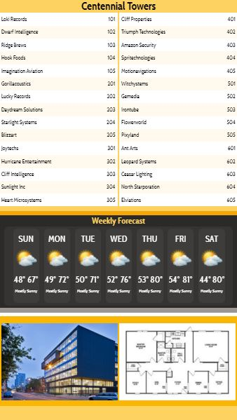 Vertical Lobby Directory with Weekly Weather - 30 Items in Yellow color