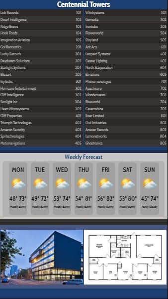 Vertical Lobby Directory with Weekly Weather - 40 Items in Blue color