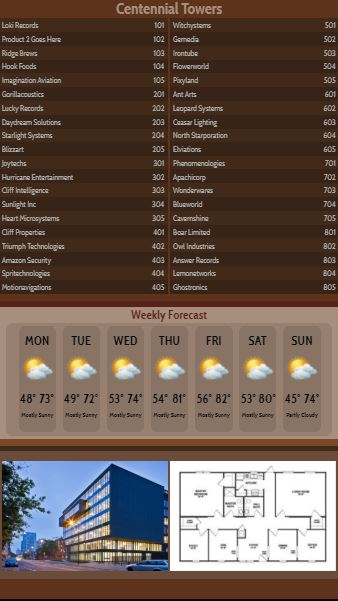 Vertical Lobby Directory with Weekly Weather - 40 Items in Brown color
