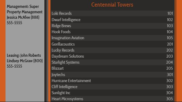 Lobby Directory - 15 Items in Orange color