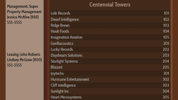 Lobby Directory - 15 Items in Brown color