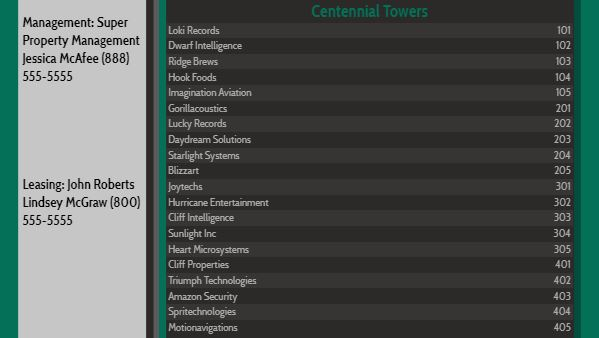 Lobby Directory - 20 Items in Emerald color