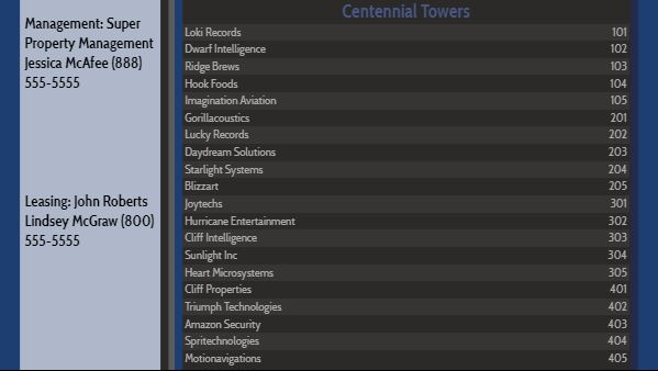 Lobby Directory - 20 Items in Blue color