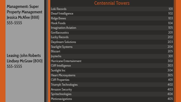 Lobby Directory - 20 Items in Orange color