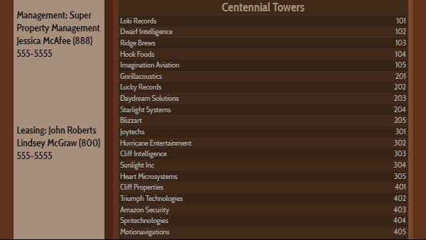 Lobby Directory - 20 Items in Brown color
