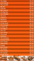 Portrait Digital Menu Board - 30 Items in Orange color
