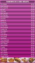 Portrait Digital Menu Board - 30 Items in Purple color