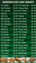 Portrait Digital Menu Board - 40 Items in Green color