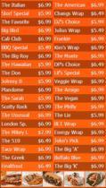 Portrait Digital Menu Board - 40 Items in Orange color