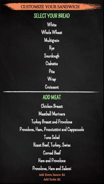Digital Signage Template for Vertical Build Your Own Chalk Board Menu - 20 Items