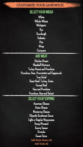 Digital Signage Template for Vertical Build Your Own Chalk Board Menu - 30 Items