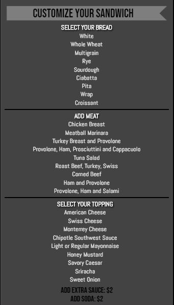 Vertical Build Your Own Menu  - 30 Items in Black color