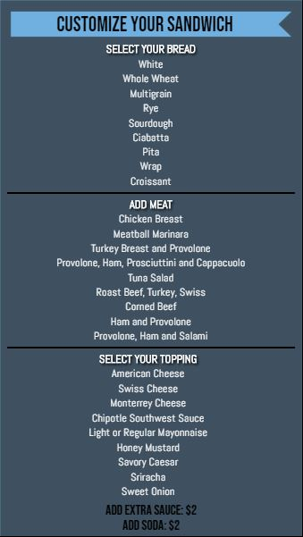 Vertical Build Your Own Menu  - 30 Items in Blue color