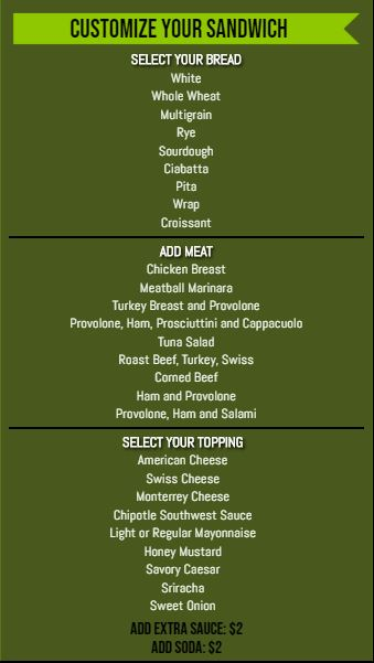 Vertical Build Your Own Menu  - 30 Items in Green color
