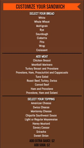 Vertical Build Your Own Menu  - 30 Items in Orange color