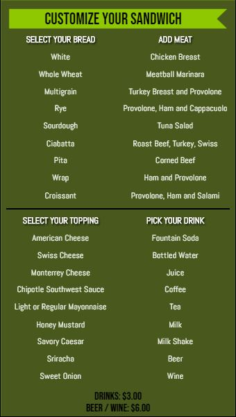 Vertical Build Your Own Menu  - 40 Items in Green color