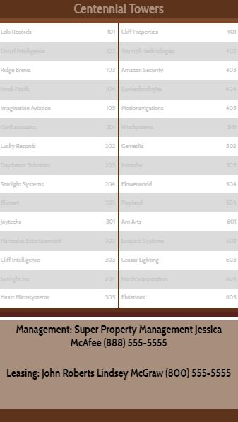 Vertical Lobby Directory - 30 Items in Brown color
