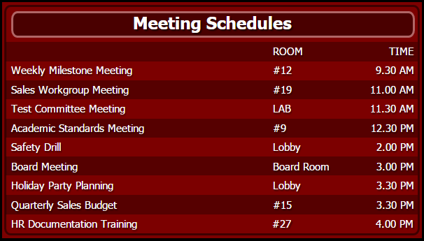 Meeting Schedules