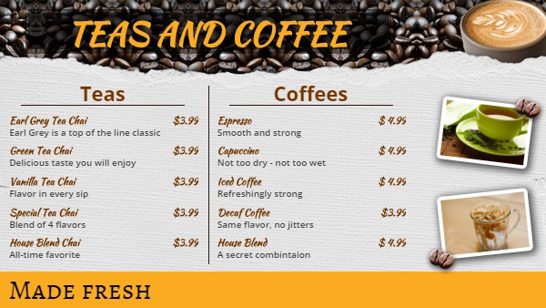 Template For Coffee Shop Cafe Menu 10 Items