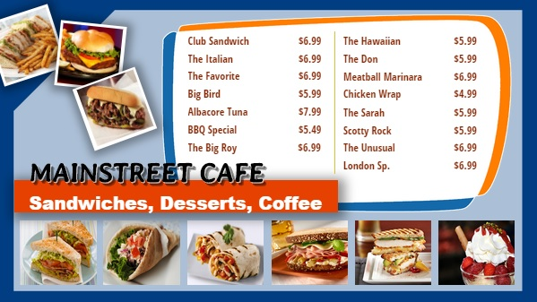 Cafe Menu Board for 15 Items
