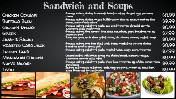 16 chalkboard menu examples using digital menu boards for Sandwich shop menu template