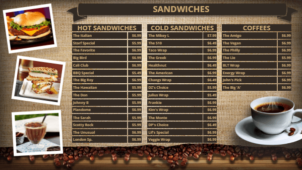 Coffee Shop Digital Menu Board Template in Brown color