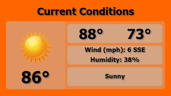Digital Signage Current Weather Forecast Template in Orange color