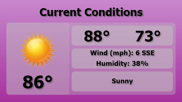 Digital Signage Current Weather Forecast Template in Purple color