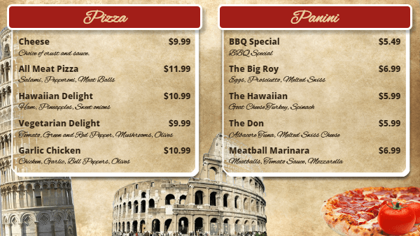 Italian Pizza Digital Menu Board Template