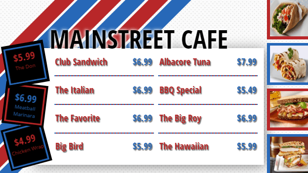 Cafe Digital Menu Board Template in White color