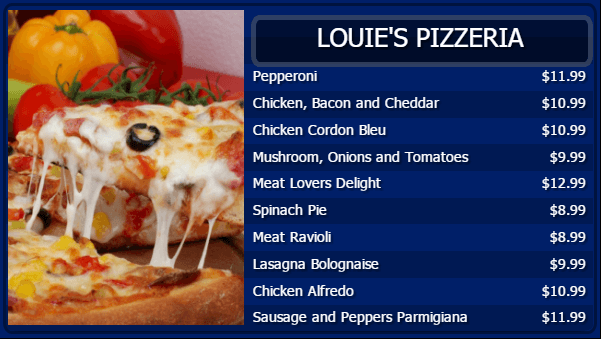 Pizza Digital Menu Board Template in Blue color