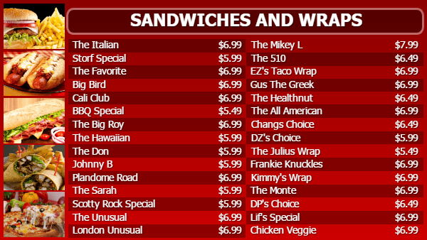 Sandwich Digital Menu Board Template in Red color